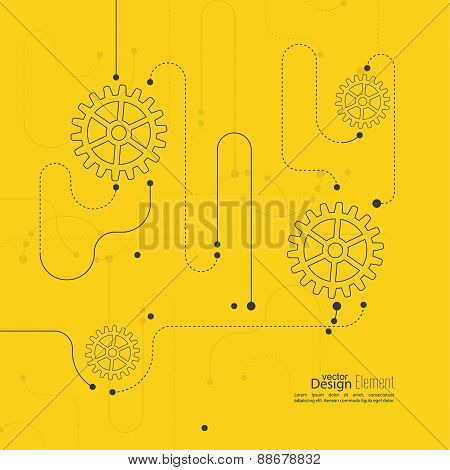 Vector abstract background with gear whee