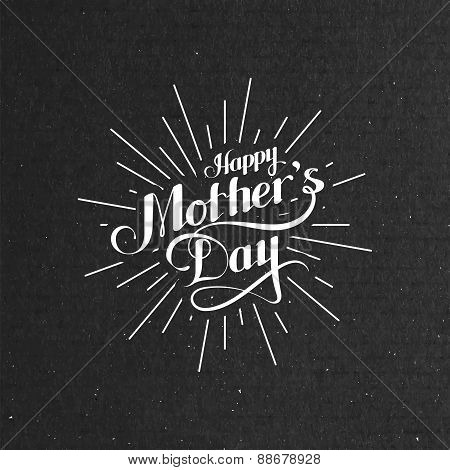 Happy Mothers Day retro label with light rays