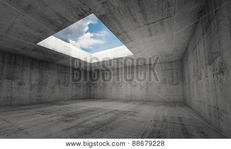 Empty Dark Concrete Room Interior With Window In Ceiling