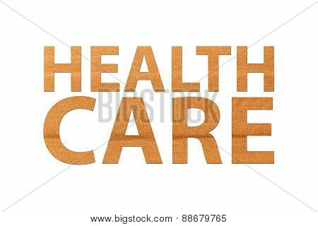 Healthcare Text Band Aid Isolated White