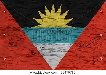 Antigua And Barbuda National Flag Painted Old Oak Wood Fastened