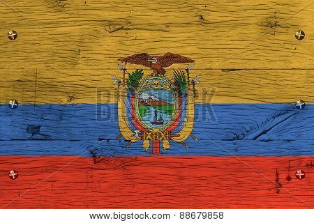 Ecuador National Flag Painted Old Oak Wood Fastened