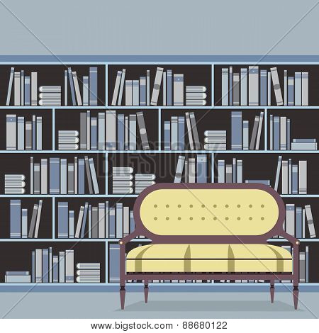 Empty Reading Seat In Front Of A Bookcase.