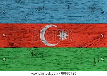 Azerbaijan National Flag Painted Old Oak Wood Fastened
