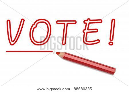 Vote Written Red Pencil