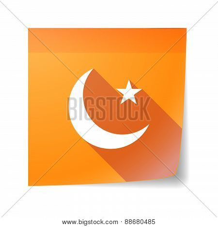 Sticky Note Icon With An Islam Sign