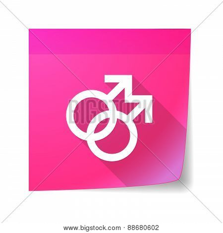 Sticky Note Icon With A Female Gay Sign