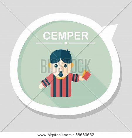Soccer Referee Flat Icon With Long Shadow,eps10