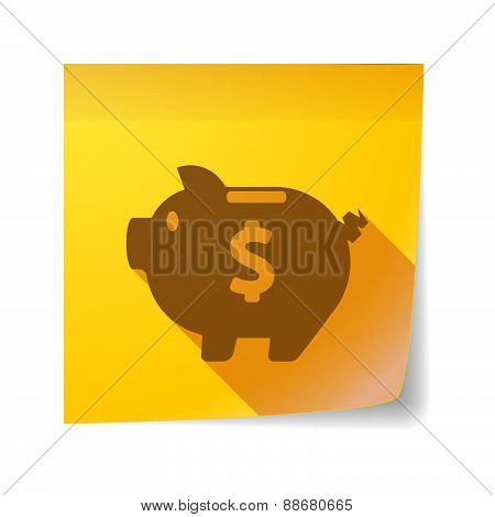 Sticky Note Icon With A Piggy Bank