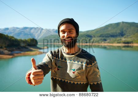 Summer Fun Man Showing Thumbs Up Smiling Happy Bearded Model. Portrait Of Happy Man