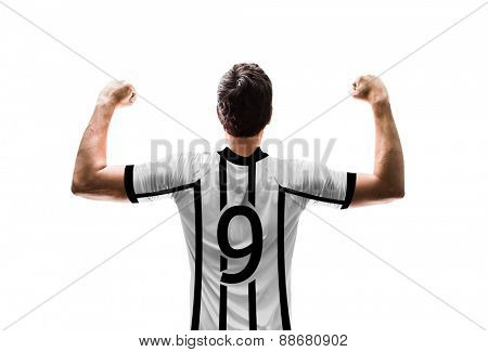 Soccer player on white and black t-shirt on white background