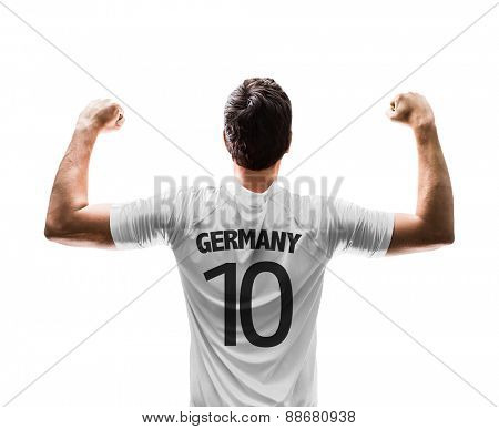 German soccer player on white background