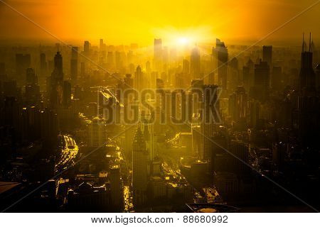 shanghai skyline in sunrise, landscape of city.