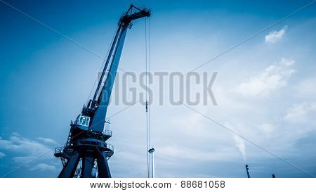 crane in the sky of harbor, china.