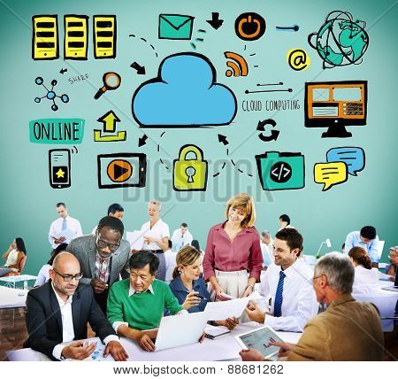 Cloud Computing Network Online Internet Storage Concept