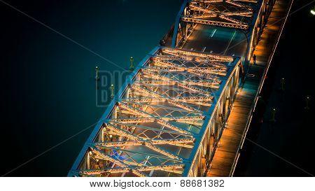 Night traffic lights inside of the Garden Bridge of shanghai china.