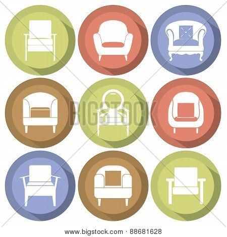 Sofas Icons Set Flat Design.