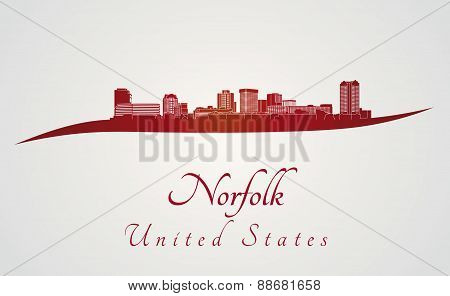 Norfolk Skyline In Red