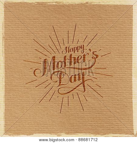 handwritten Happy Mothers Day retro label