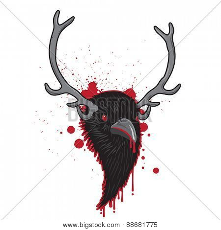 Bloody Horned Head of Raven Bird