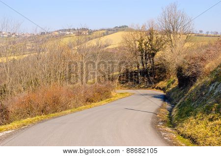 Asphalt Road In The Country
