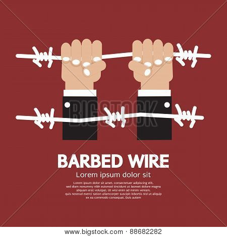 Barbed Wire With Hand.
