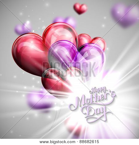 handwritten Happy Mothers Day retro label with balloons