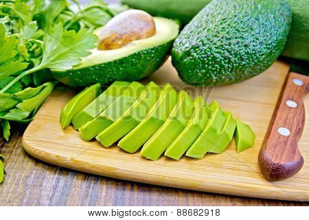 Avocado slices on board