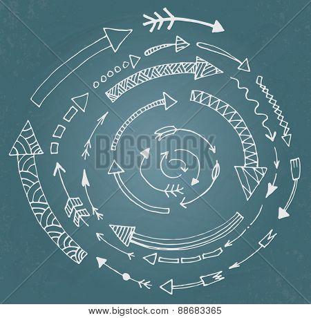 Hand drawn arrow icons set on blue chalk board. Vector Illustration
