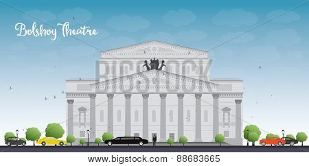 Bolshoy Theatre in Moscow. Vector illustration with cars and blue sky