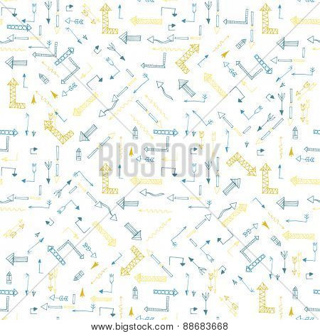 Hand drawn seamless pattern with arrows. Vector illustration
