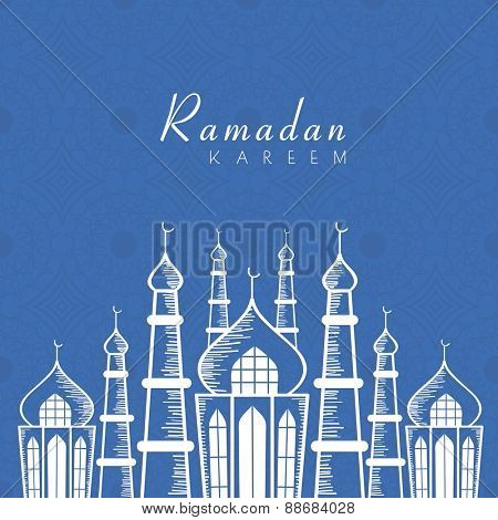 Holy month of muslim community, Ramadan Kareem celebration greeting card with illustration of islamic mosque on blue seamless background.