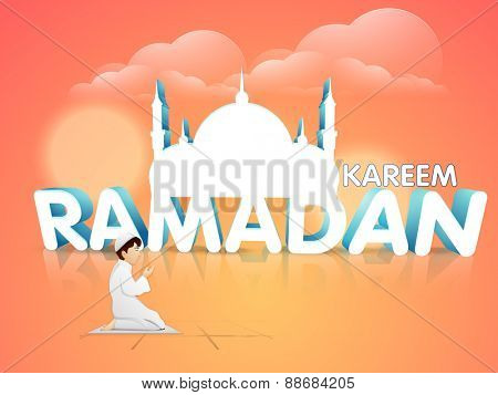 Illustration of a boy offering Namaaz with 3D islamic mosque on cloudy colorful background for holy month of muslim community, Ramadan Kareem celebration.