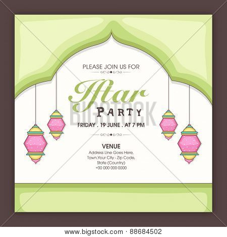 Beautiful invitation card with time, date and place details for holy month of muslim community, Ramadan Kareem celebration.