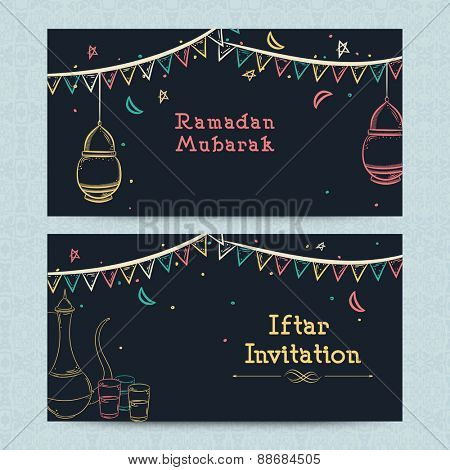Ramadan Kareem Iftar party celebration website header or banner set.