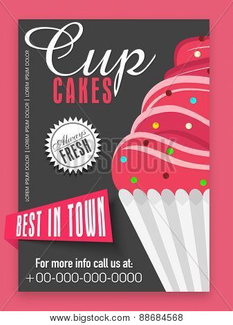 Stylish menu card design of always fresh cupcakes for sweet house.