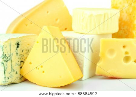 Different sort of cheese, closeup