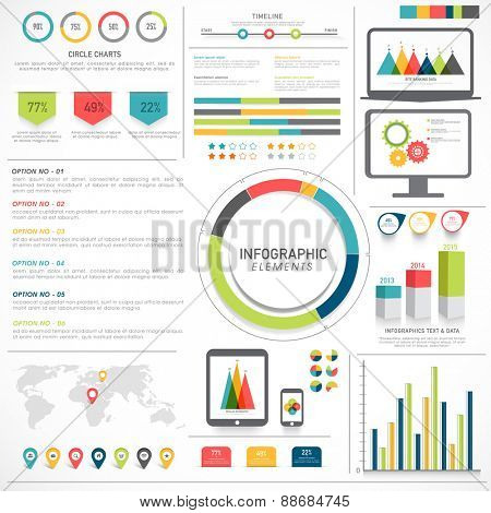Big set of various statistical infographic elements for your business and corporate sector.
