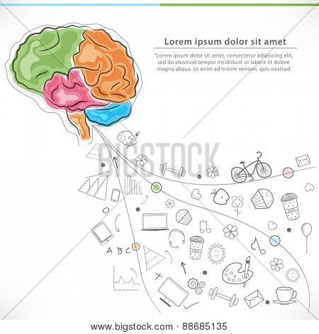 Health and Medical concept with colorful illustration of human brain and various elements on white background.