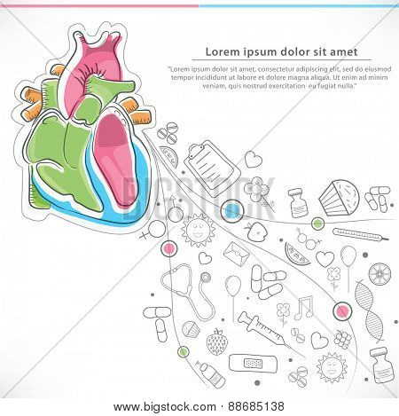 Colorful illustration of human heart with different elements for Health and Medical concept.