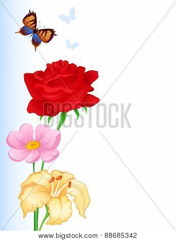 Greeting Card With Colorful Butterflies And Flowers