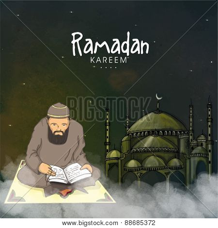 Islamic month of prayers, Ramadan Kareem celebration with illustration of a Muslim man reading Quran Shareef on mosque decorated background.