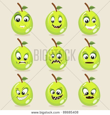 Set of different expressions with funny guava faces on beige background.