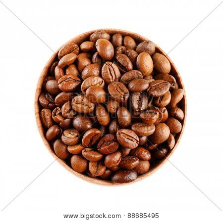 Coffee beans in small bowl isolated on white