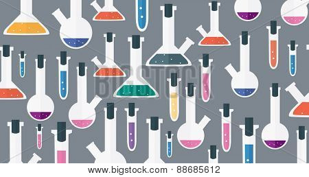 Medical laboratory glassware background Vector illustration