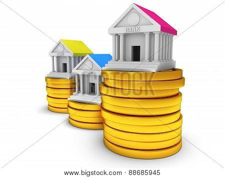 Bank Buildings On Stack Of Coins.