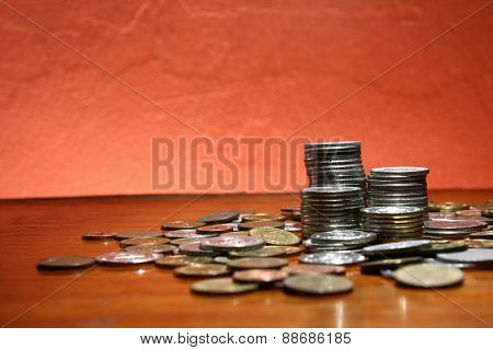 Piles or stacks of coins