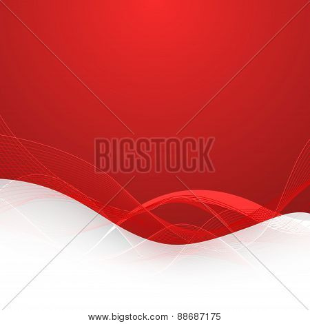 Abstract Red Background With Lines. Vector Illustration