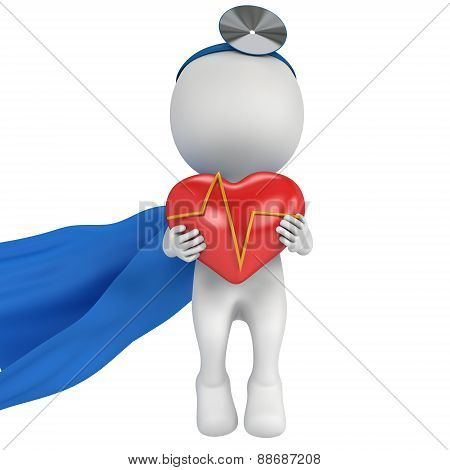 Super Doctor With A Red Heart With Cardiogram