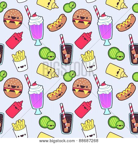 Kawaii food seamless pattern